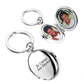 Porte-clés double photo personnalisé