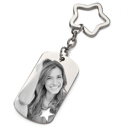 Porte-clés gravé photo ajouré étoile