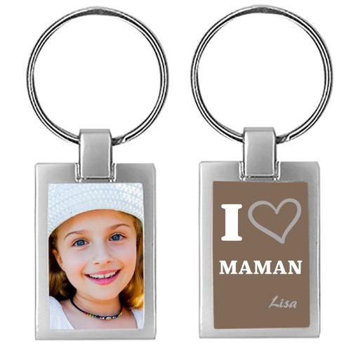 Porte-clés photo fête des mères I LOve Maman