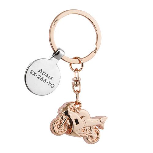 Porte-clés moto or rose presonnalisé