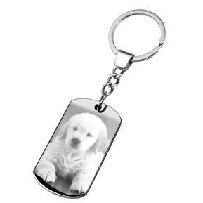 Porte-clés dogtag gravé photo de mon chien