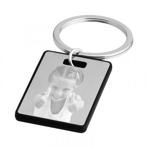 Porte-clés rectangulaire gravé d'une photo