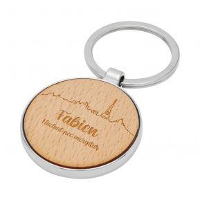 Porte-clés rond en bois personnalisé Paris