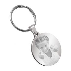Porte-clés rond photo gravée