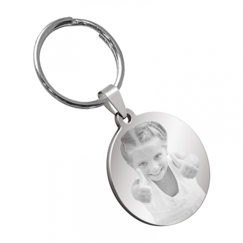Porte-clés rond photo gravé