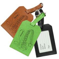 Porte-étiquette de bagage en cuir gravé SuperPapa