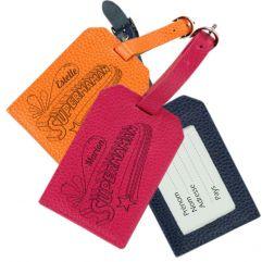 Porte-étiquette de bagage en cuir gravé SuperMaman