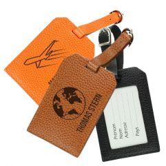 Porte-étiquette de bagage en cuir globe trotter