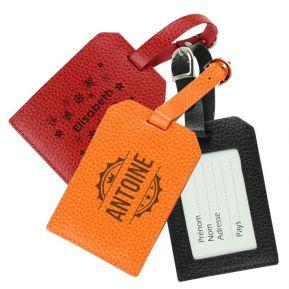 Porte-étiquette de bagage en cuir gravé prénom