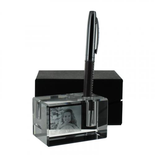 Porte-stylo en verre gravé d'une photo