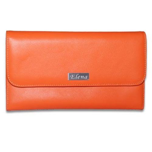 Porte chéquier en cuir orange