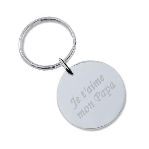 Porte-clés grand rond avec texte et motifs