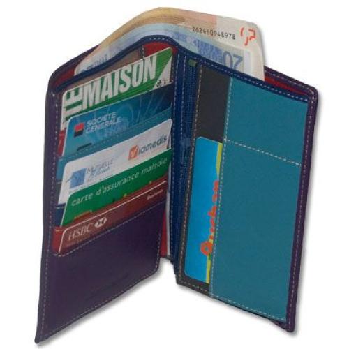 Portefeuille bleu personnalisé