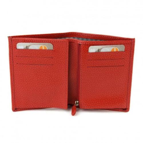 Portefeuille Européen rouge Ouvert : cartes, billets et pièces