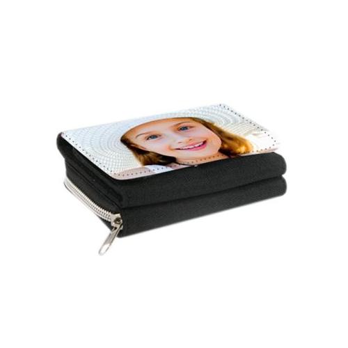 Portefeuille noir 2 en 1 personnalisé photo
