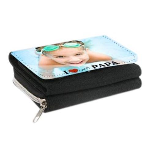 Portefeuille papa noir 2 en 1 personnalisé photo