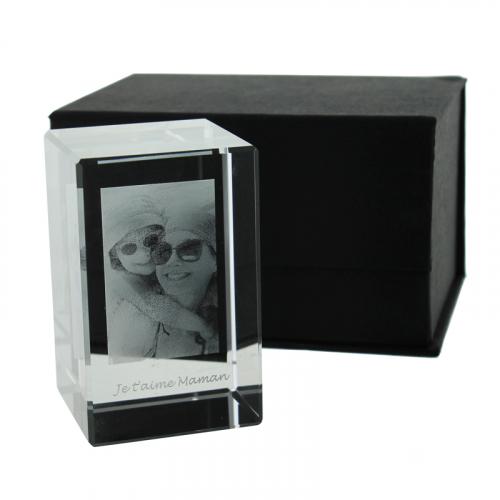 Presse papier rectangulaire en verre personnalisé photo