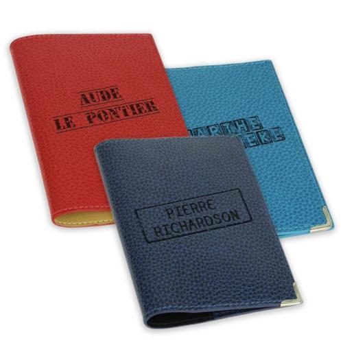 Protège passeport personnalisé tampon