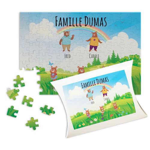 Puzzle personnalisé famille ours à la campagne