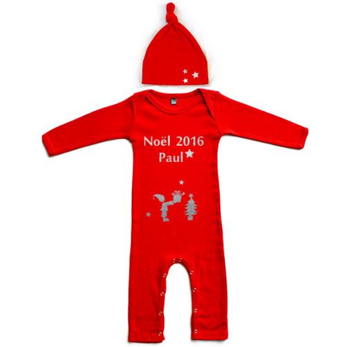 Pyjama personnalisé Noël prénom et bonnet