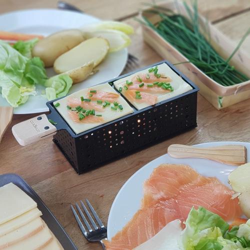 Raclette saumon à la bougie portable