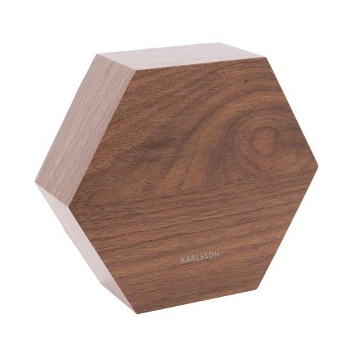 Réveil hexagonale en bois de dos