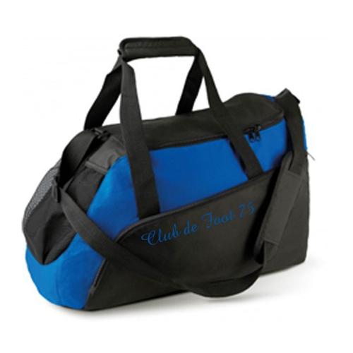 Un sac de sport bleu brodé