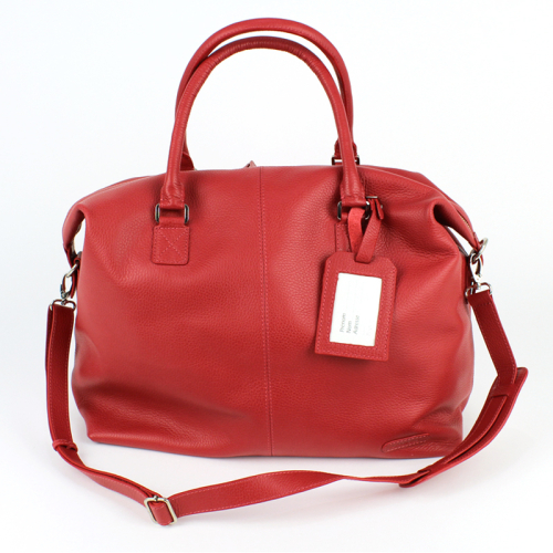 Sac de week-end en cuir rouge
