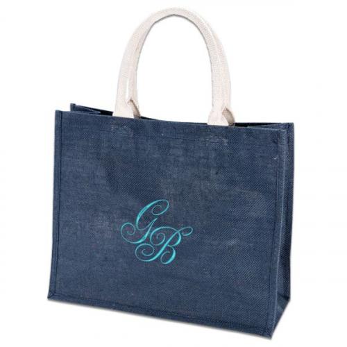 Un sac shopping bleu et brodé