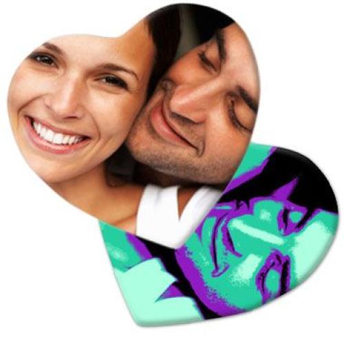 Dessous de verre coeur imprimé photo