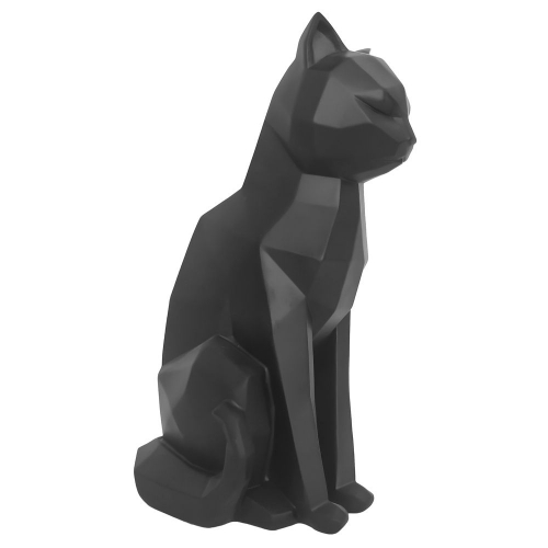 Statue origami chat noir assis