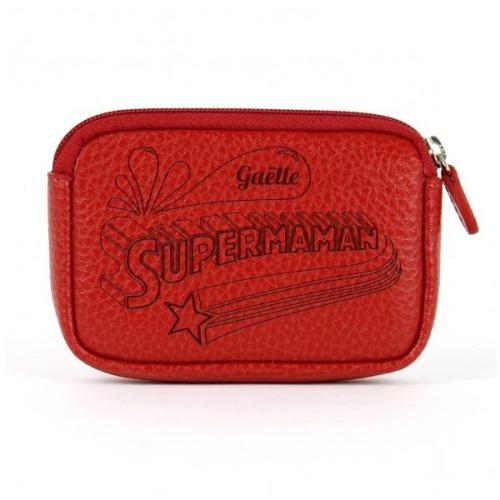 Porte-monnaie Super Maman rouge