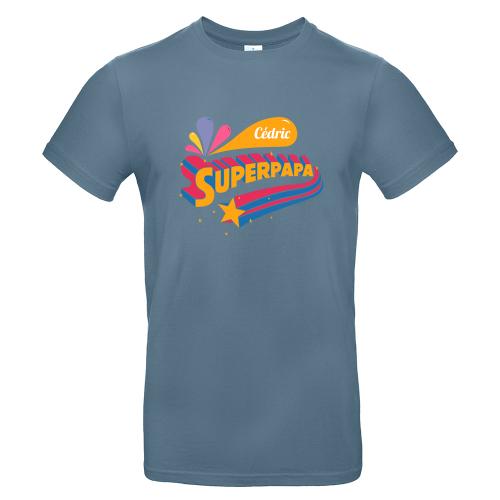 T-shirt Bleu Stone personnalisé Super papa