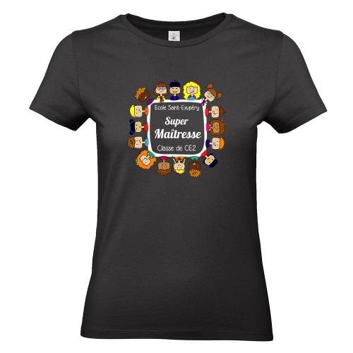 T-shirt noir femme personnalisé Merci maîtresse
