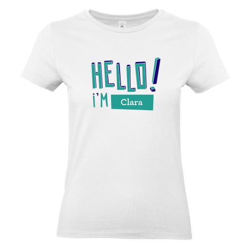 T-shirt Hello blanc