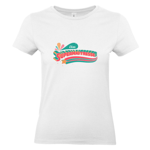 T-shirt blanc femme personnalisé Super Maîtresse