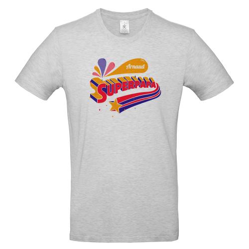 T-shirt gris personnalisé Super papa