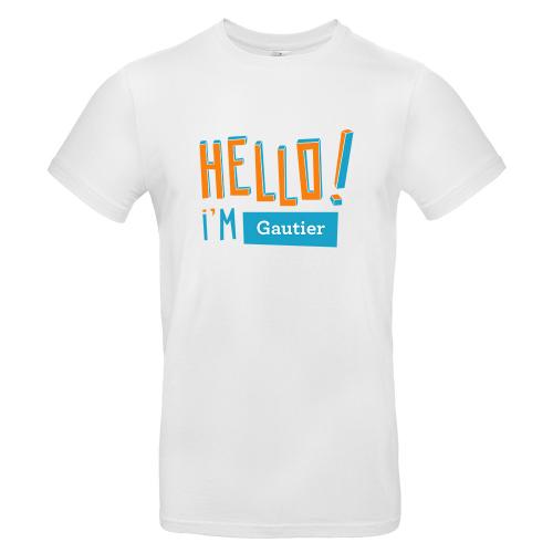 T-shirt homme personnalisé Hello blanc
