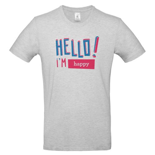 T-shirt homme personnalisé Hello gris