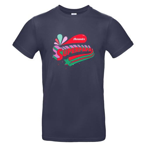 T-shirt Bleu marine personnalisé Super papa