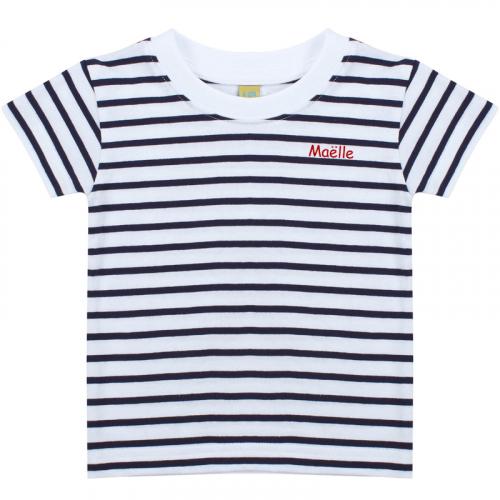 T-shirt bébé marinière brodé prénom