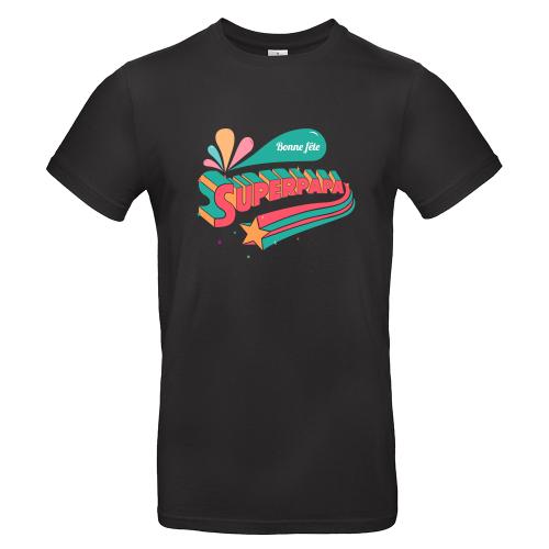 T-shirt noir personnalisé Super papa