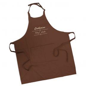 Tablier marron chocolat brodé label