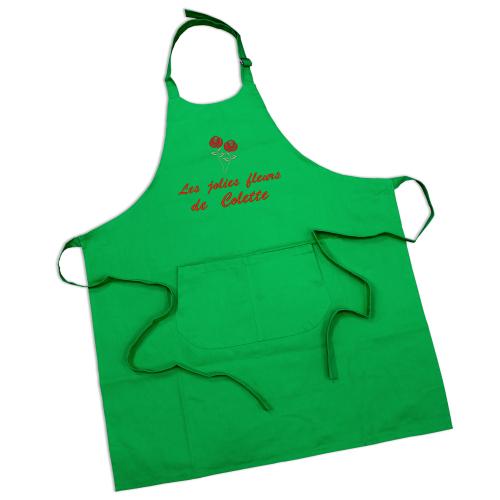 Tablier sommelier en coton vert gazon personnalisé