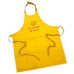 Tablier sommelier 100% coton jaune personnalisé