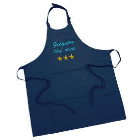 Tablier sommelier 100% coton bleu marine personnalisé