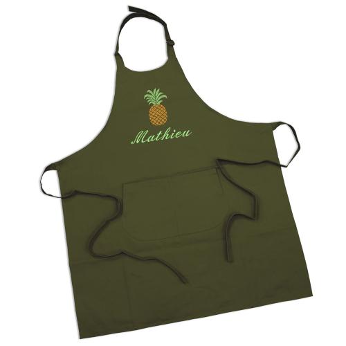 Tablier sommelier en coton vert olive personnalisé
