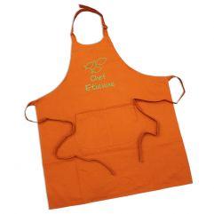 Tablier sommelier 100% coton orange personnalisé
