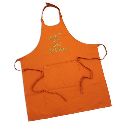 Tablier sommelier en coton orange personnalisé