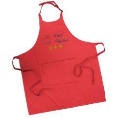 Tablier sommelier 100% coton rouge personnalisé